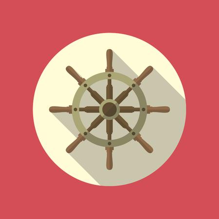 timon de barco: Timón de la nave del icono del vector diseño plano. Vectores