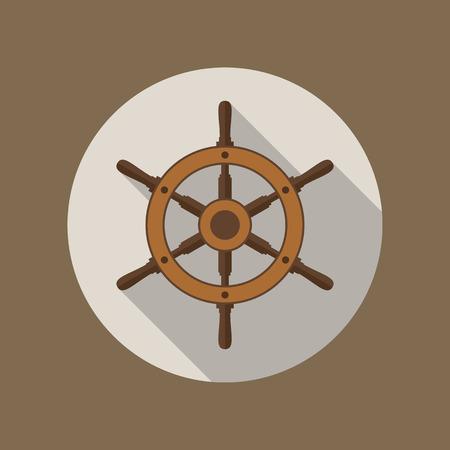 helm: Ship helm vector icon flat design.