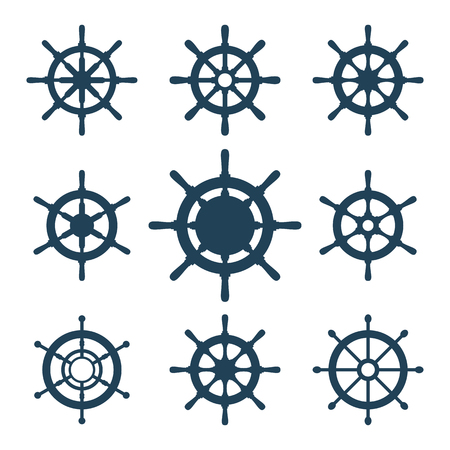 Ship helm vector icons set. Helm steering wheel icons isolated on white. Steering wheel icon symbols. Collection of 9 ship helm vector silhouettes. Helm pictograms kit. EPS8 illustration.