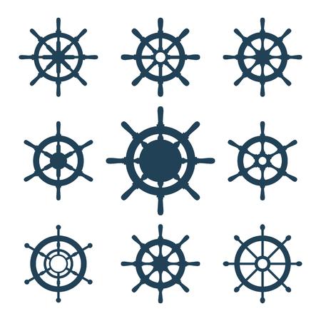 Ship helm vector iconen set. Helm stuurwiel iconen geïsoleerd op wit. Stuurwiel pictogram symbolen. Verzameling van 9 schip roer vector silhouetten. Helm pictogrammen kit. EPS8 illustratie.