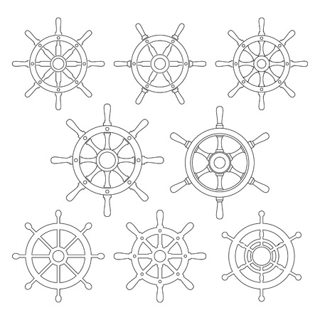 helm: Ship helm vector icons set. Helm steering wheel thin line icons isolated on white. Steering wheel symbols. Collection of 8 ship helm design elements. Helm pictograms kit. EPS8 vector illustration.