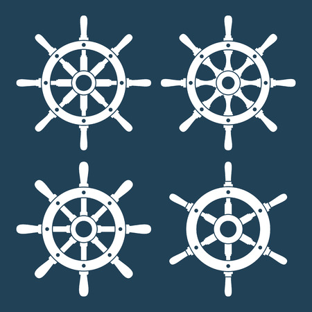 helm: Ship helm vector icons set.