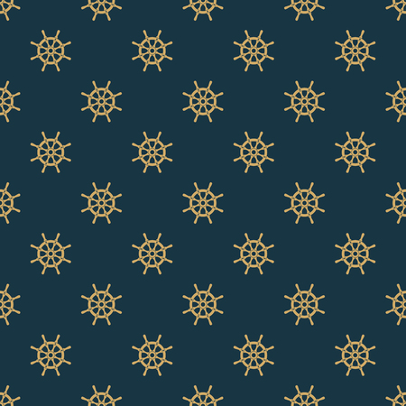 Ship helm vector seamless pattern.
