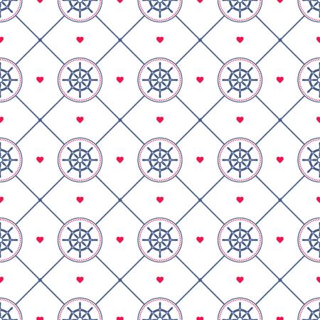helm: Ship helm vector seamless pattern.
