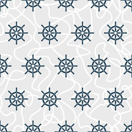 helm: Ship helm vector seamless pattern.