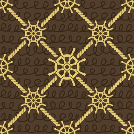 nautical rope: Ship helm vector seamless pattern.