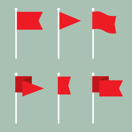 Set of flag pin vector icons flat design. Red flag pin icon in flat style with long shadow. Collection of flag pin flat icon symbols. Flag pin design elements. EPS8 vector illustration. Vettoriali