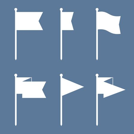 flag pin: Set of flag pin vector icons flat design. Red flag pin icon in flat style with long shadow. Collection of flag pin flat icon symbols. Flag pin design elements. EPS8 vector illustration. Illustration