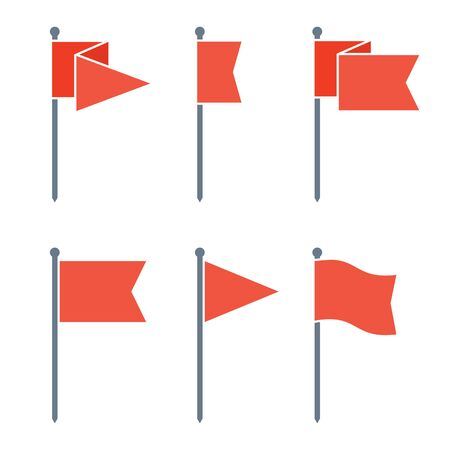 Set of flag pin vector icons flat design. Red flag pin icon in flat style with long shadow. Collection of flag pin flat icon symbols. Flag pin design elements. EPS8 vector illustration. Illustration