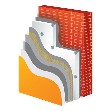 Isolierung Querschnitt Schichtsystem der thermischen Schutzwand. Isolationsprinzipschema. Isolierung Bau. Außenwand Polystyrol Isolation. Einfache farbige EPS10 Vektor-Illustration.