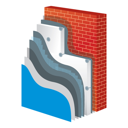 principle: Insulation cross-section layered scheme of wall thermal protection. Insulation principle scheme. Insulation construction. Exterior wall polystyrene isolation. Simple colored EPS10 vector illustration.