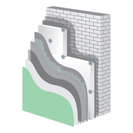 isolation: Insulation cross-section layered scheme of wall thermal protection. Insulation principle scheme. Insulation construction. Exterior wall polystyrene isolation. Simple colored EPS10 vector illustration.