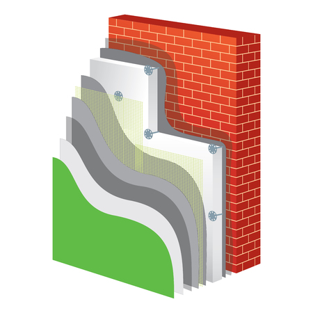 Thermal insulation cross-section layered scheme. Wall thermal protection. Insulation principle scheme. Thermal insulation construction. Wall thermal isolation. Simple colored EPS10 vector illustration Illustration