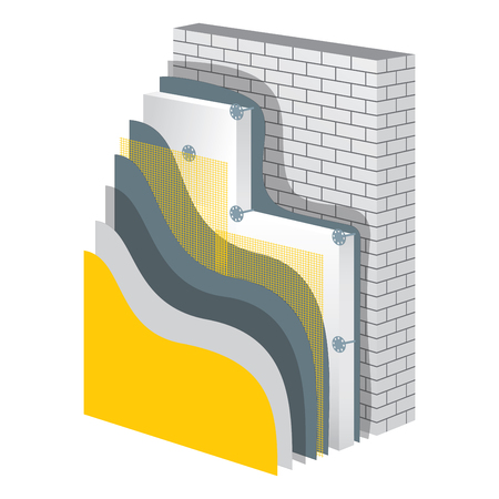 insulate: Thermal insulation cross-section layered scheme. Wall thermal protection. Insulation principle scheme. Thermal insulation construction. Wall thermal isolation. Simple colored EPS10 vector illustration Illustration