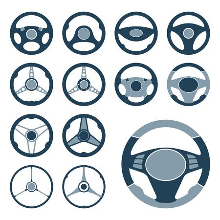 Set Of Car Steering Wheel Vector Icons Flat Symbols Automobile