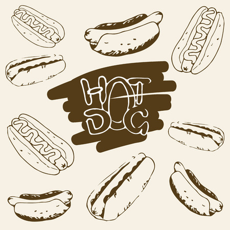 hotdogs: Hot Dog hand drawn illustrations. Fast food design elements, sketches of hotdogs with sauce and mayonnaise. Monochrome EPS8 vector graphics.