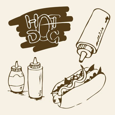 mayonnaise: Hot Dog hand drawn illustrations. Fast food design elements, sketches of hotdog with sauce or mayonnaise in a plastic bottles. Monochrome EPS8 vector graphics.