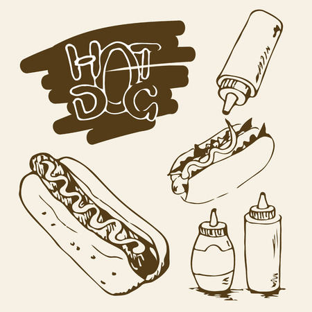 hot dog label: Hot Dog hand drawn illustrations. Fast food design elements, sketches of hotdogs with sauce and mayonnaise. Plastic bottles with sauce and mayonnaise. Monochrome EPS8 vector graphics.