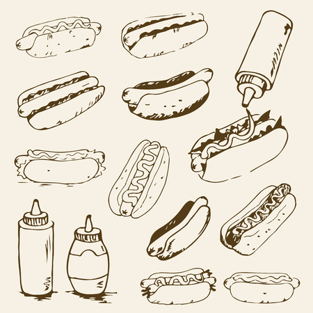 hotdogs: Hot Dog hand drawn set of illustrations. Fast food design elements, sketches of hotdogs with sauce, mayonnaise and vegetables. Monochrome EPS8 vector graphics. Illustration