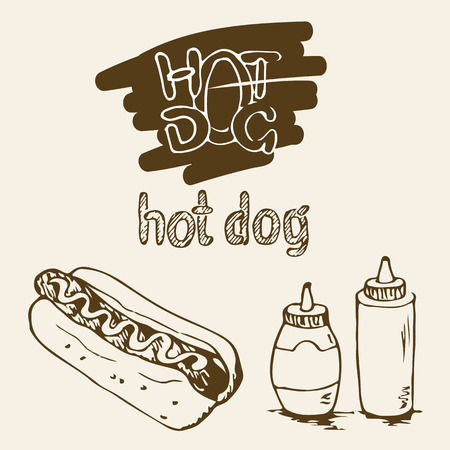 plastic bottles: Hot Dog hand drawn illustrations. Fast food design elements, sketches of hotdog. Sauce and mayonnaise in a plastic bottles. Hot dog hand written labels. Monochrome EPS8 vector graphics. Illustration