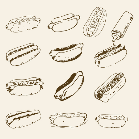 mayonnaise: Hot Dog hand drawn set of illustrations. Fast food design elements, sketches of hotdogs with sauce, mayonnaise and vegetables. Monochrome EPS8 vector graphics. Illustration