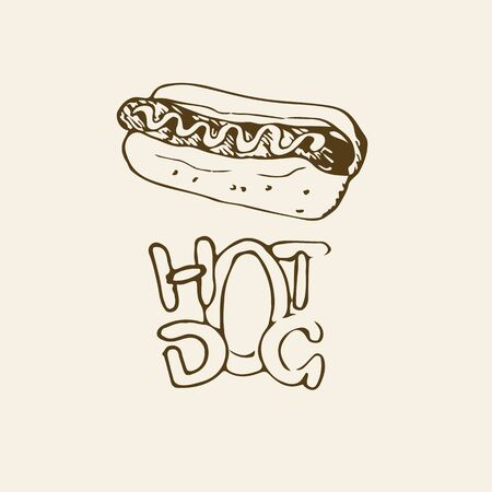 hot dog label: Hot Dog hand drawn illustration. Fast food design element, sketch of hotdog with sauce or mayonnaise and stylized hand written label of Hot Dog. Can be used for a logo. Monochrome EPS8 vector graphics.
