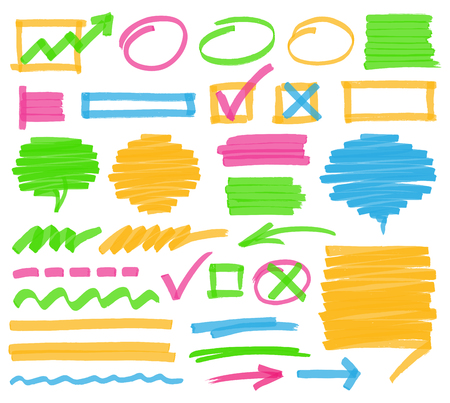 Markeerstift design elementen. Set van highlighter merken, strepen, beroertes, schaduwrijke tekstballonnen en pijlen. Geoptimaliseerd voor een klik kleur verandert. Transparante kleuren EPS10 vector. Vector Illustratie