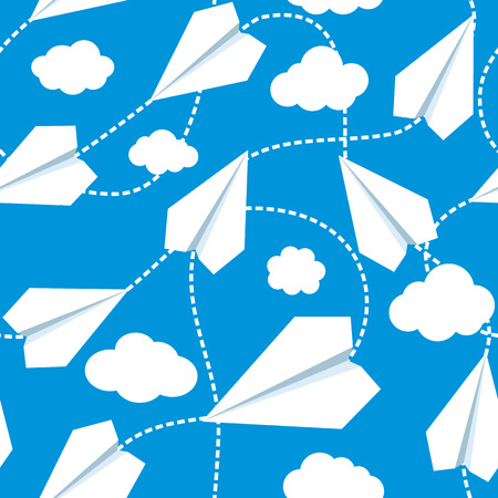 papercraft: Paper planes seamless vector pattern. Repeating abstract background with paper planes. Papercraft airplanes texture. Paper planes flying in clouds. EPS8 vector illustration includes Pattern Swatch. Illustration