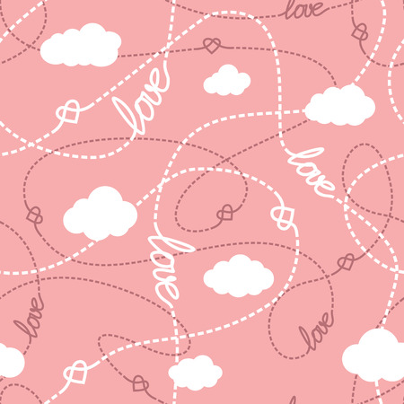Vector seamless pattern with love words, hearts, tangled lines and clouds. Repeating abstract background for romantic design. Love conceptual texture. EPS8 vector illustration includes Pattern Swatch.