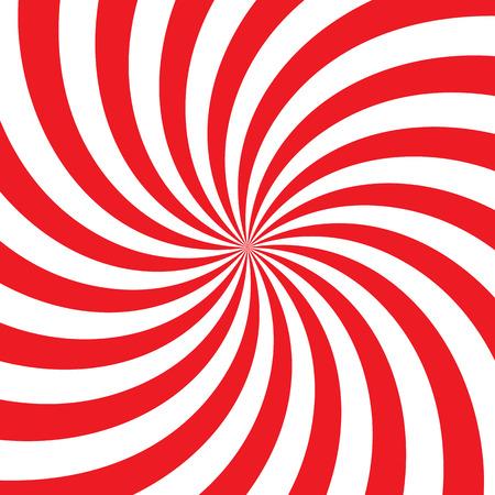 De remolino vórtice de fondo radial. rayas blancas y rojas que giran alrededor del centro de la plaza. ilustración vectorial