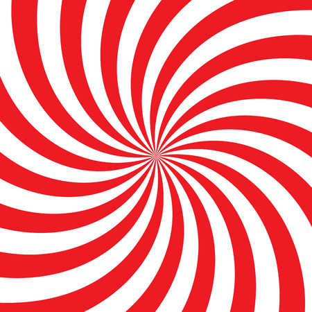 Swirling radial vortex background. White and red stripes swirling around the center of the square. Vector illustration