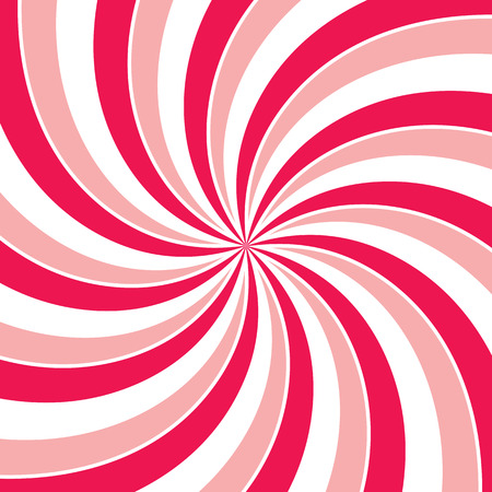 spin: Swirling radial vortex background. Pink, red and white stripes swirling around the center of the square. Vector illustration Illustration