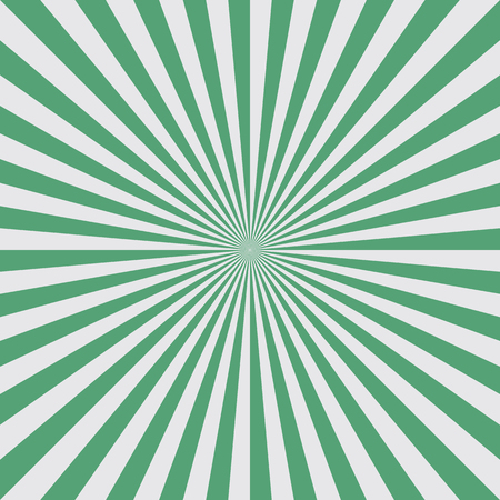 Sun burst background in green color. Green stripes radiate from the center to the edges of the square. Vector illustration