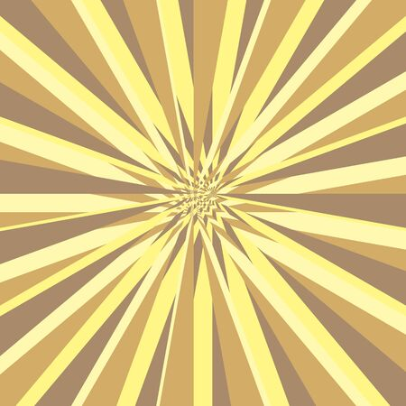 scatter: Burst abstract vector background. Explosion distortion effect. Yellow and brown stripes as a rays scatter from the center of the square. Vector illustration Illustration