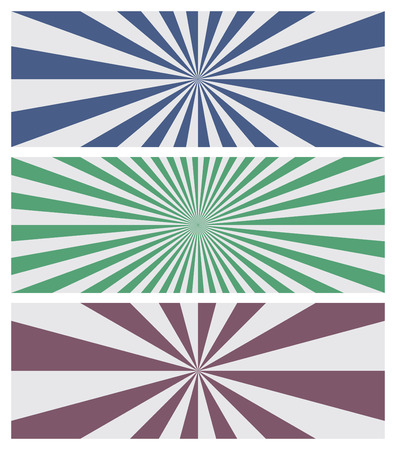 radiate: Set of three sun burst backgrounds in blue, green and purple colors. Stripes as a rays radiate from the center to the edges of the rectangle banner. Vector illustration