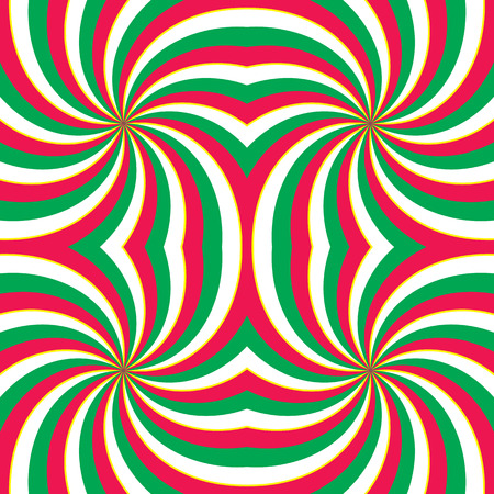 swirling: Hypnotic swirling radial vortex background. Red, green and white stripes swirling into square. Vector illustration Illustration