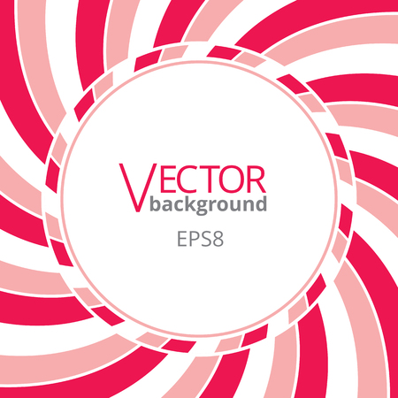 swirling: Swirling radial vortex background. Pink, red and white stripes swirling around the round blank badge in center of the square. Vector illustration Illustration