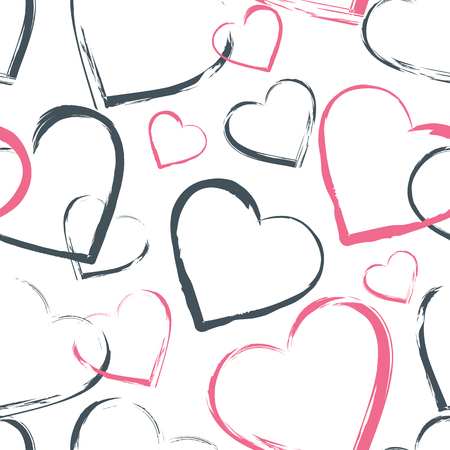 Different sizes hearts seamless pattern. Pink and gray contour hearts randomly placed on the white background. Vector illustration