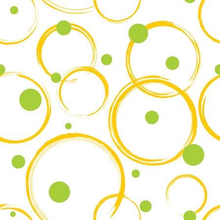 circles pattern: Seamless pattern. Abstract yellow and green circles on white background. Seamless texture  format, includes pattern swatch.