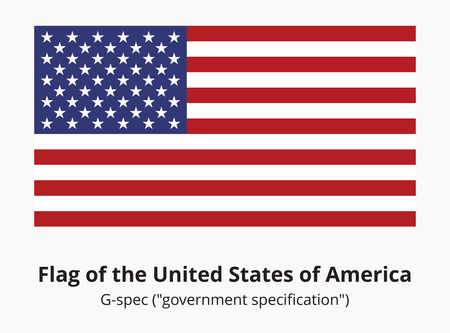 correspond: USA national flag or American flag in proportion of 10 by 19 and colors correspond G-spec government specification. Correct USA flag isolated. Star-spangled banner vector illustration in EPS8 format. Illustration