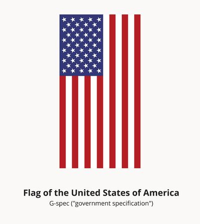 specification: USA national flag or American flag in proportion of 10 by 19 and colors correspond G-spec government specification. Correct USA flag isolated. Star-spangled banner vector illustration in EPS8 format. Illustration