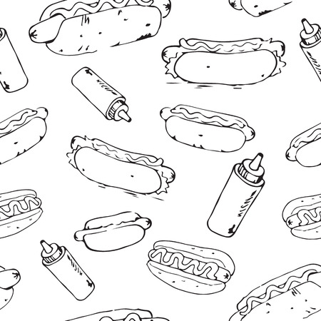 mayonnaise: Hot Dog hand drawn seamless pattern. Fast food design element. Seamless texture from sketches of hotdogs with sauce, mayonnaise and vegetables.