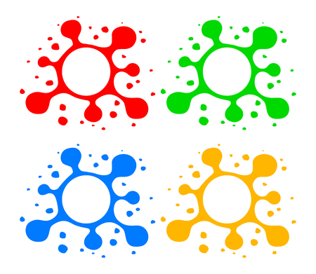 Stylized blots with splashes. Hand drawn blots with blank space in center. Blot symbols in red green blue and yellow colors isolated on white. Blot design elements.