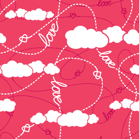 tangled: Vector seamless pattern with love words, hearts, tangled dashed lines and clouds. Repeating background for romantic design. Love conceptual texture.