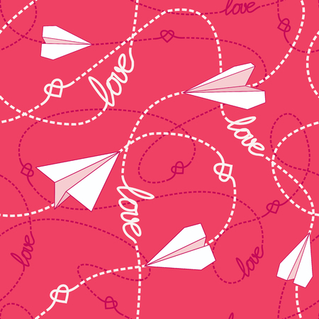 Vector seamless pattern with love words, hearts, tangled dashed lines and paper airplanes. Repeating romantic background. Love conceptual texture.