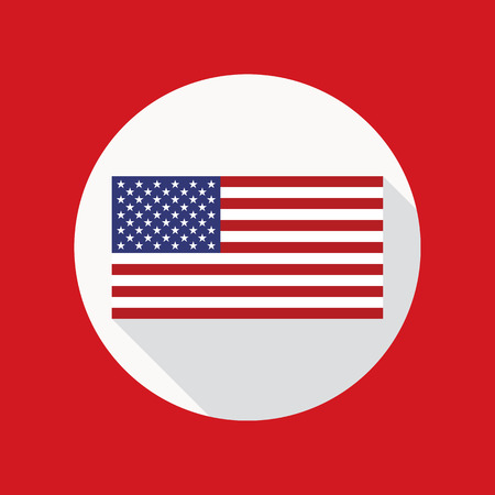 star spangled: Vector icon of USA flag in flat style with long shadow. American national flag vector flat icon. Flat icon with star-spangled banner inside circle. Illustration