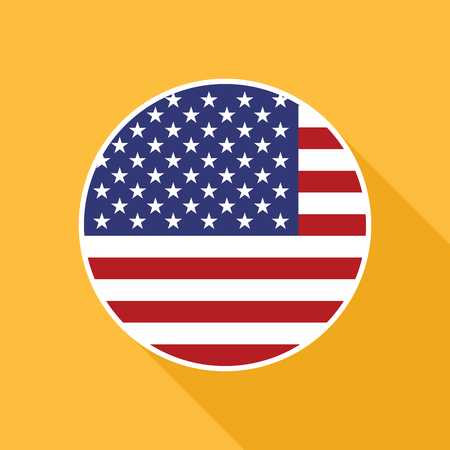 USA national flag vector flat icon. Vector icon of American flag clipped inside circle. Flat icon with star-spangled banner in flat style with long shadow.