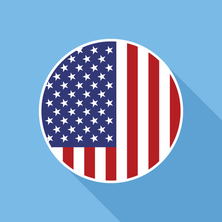 spangled: USA national flag vector flat icon. Vector icon of American flag clipped inside circle. Flat icon with star-spangled banner in flat style with long shadow.