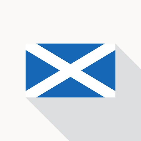 proper: Scotland national flag. Scottish flag icon in flat style with long shadow. Flat icon with flag of Scotland. . Illustration