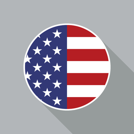 USA national flag vector flat icon. Vector icon of American flag clipped inside circle. Flat icon with star-span